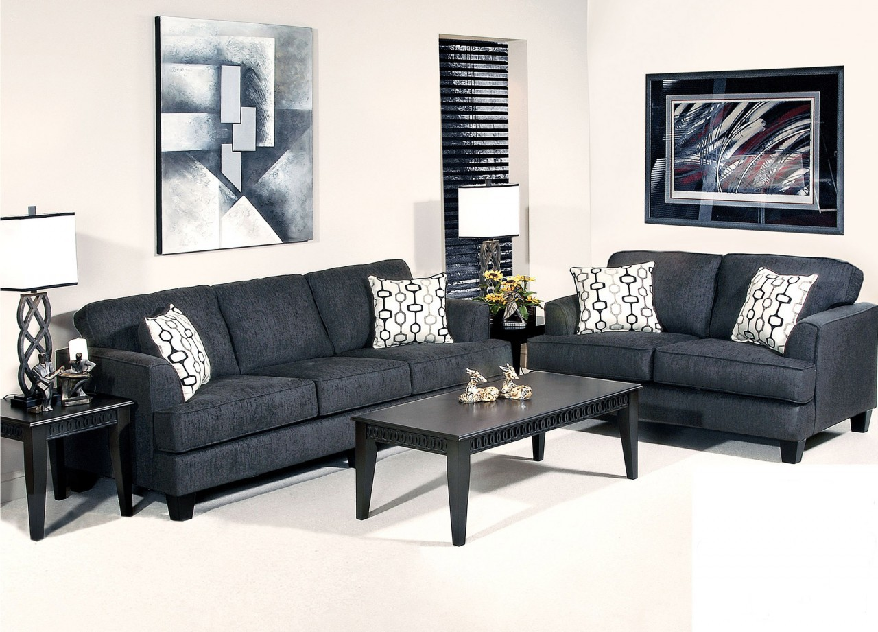 Stationary sofa love seat sets factory direct furniture 4u for Black living room furniture sets