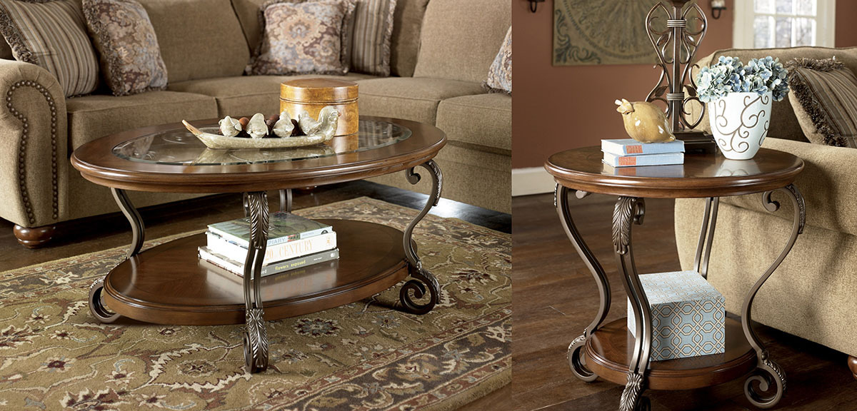 Ashley T517 Table Set Oval Cocktail Table And 2 Round End Tables