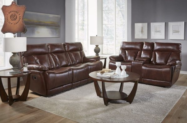 Corinthian L94006 Athens Brown Genuine Leather Sofa And